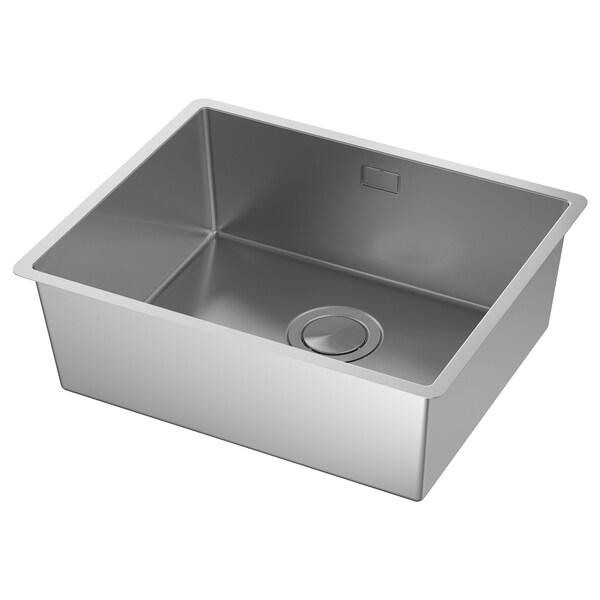 NORRSJÖN Inset sink, 1 bowl, stainless steel for custom made worktop laminate, 54x44 cm