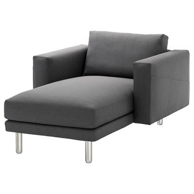 NORSBORG Chaise longue, Finnsta dark grey/metal