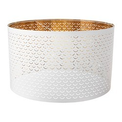 NYMÖ lamp shade, white, brass-colour