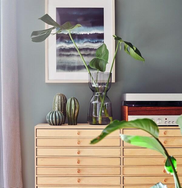 OMTÄNKSAM Vase, light grey, 30 cm