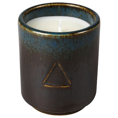 OSYNLIG Scented candle in pot, Tobacco & Honey/black blue, 7 cm
