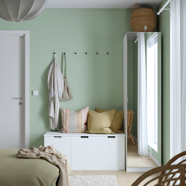 PAX / ÅHEIM Wardrobe combination, white/mirror glass, 50x60x201 cm