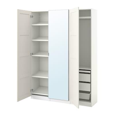 PAX / BERGSBO/ÅHEIM Wardrobe combination, white/mirror glass, 150x38x201 cm