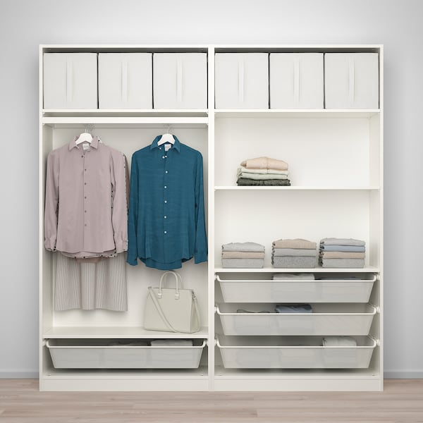 PAX / BERGSBO Wardrobe combination, white/frosted glass, 200x38x201 cm