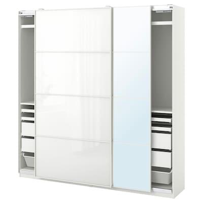 PAX / FÄRVIK/AULI Wardrobe combination, white/white glass mirror glass, 200x44x201 cm