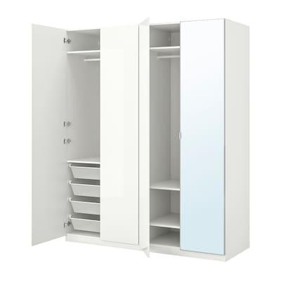 PAX / FARDAL/ÅHEIM Wardrobe combination, high-gloss white/mirror glass, 200x60x236 cm