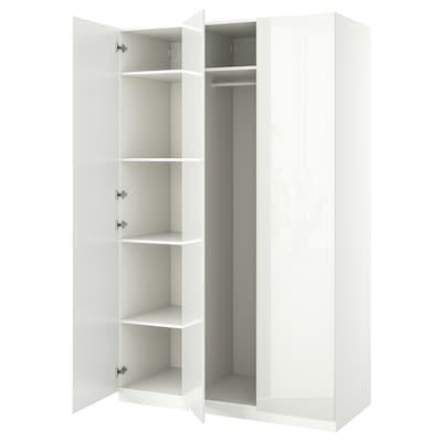 PAX / FARDAL Wardrobe combination, white/high-gloss white, 150x60x236 cm