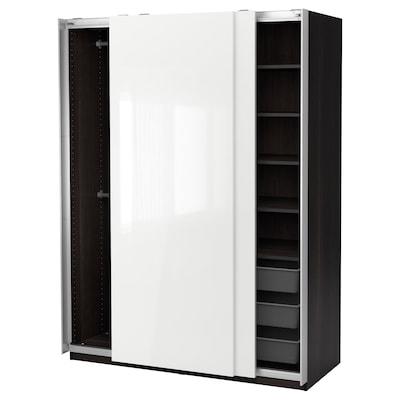 PAX Wardrobe, black-brown/Hasvik high-gloss/white, 150x66x201 cm