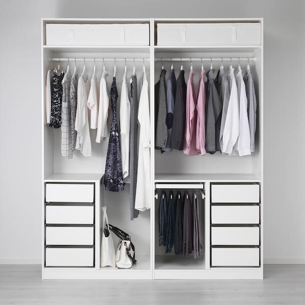PAX wardrobe white/Fjellhamar dark bamboo 200 cm 66 cm 236.4 cm