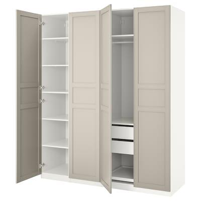PAX Wardrobe, white/Flisberget light beige, 200x60x236 cm