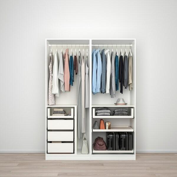 PAX Wardrobe, white/Hokksund light grey, 150x66x201 cm