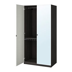PAX wardrobe, black-brown, Vikedal mirror glass