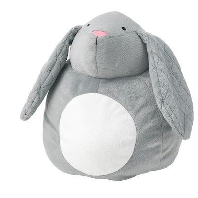 PEKHULT Soft toy with LED night light, grey rabbit/battery-operated, 19 cm