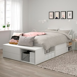 PLATSA bed frame with 4 drawers, white, Fonnes