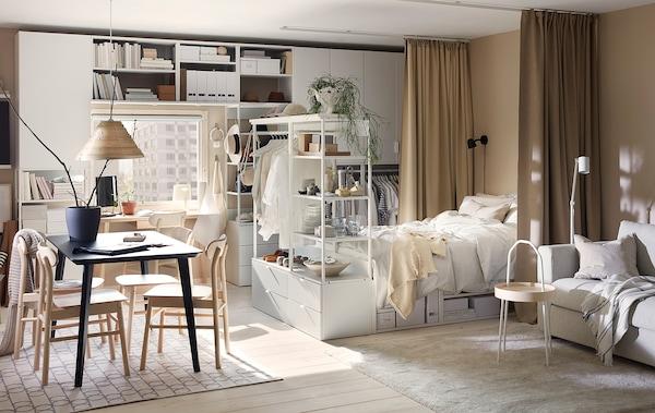 PLATSA Storage comb w 6 doors+3 drawers, white/Fonnes white, 420x42x241 cm