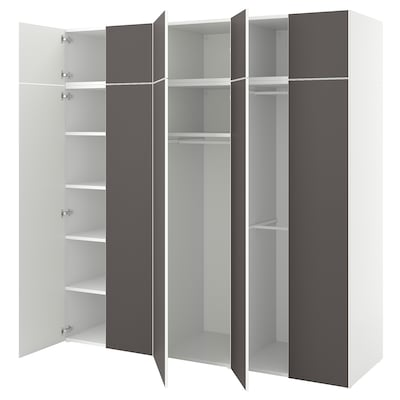PLATSA Wardrobe w 10 doors, white/Skatval dark grey, 220x57x221 cm