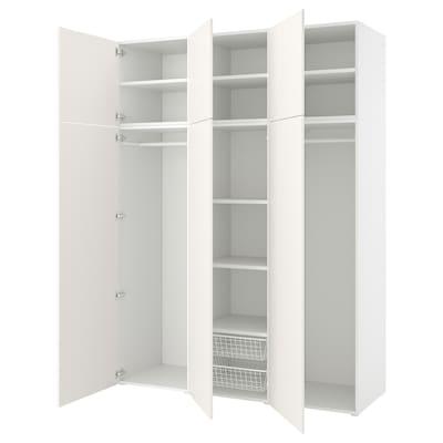 PLATSA Wardrobe w 6 doors, white/Fonnes white, 180x57x241 cm