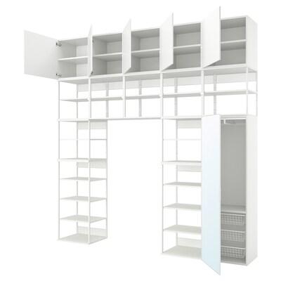 PLATSA Wardrobe w 6 doors, white STRAUMEN mirror glass /FONNES white, 300x42x301 cm