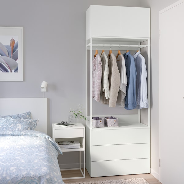 PLATSA Wardrobe with 2 doors+3 drawers, white/Fonnes white, 80x42x221 cm
