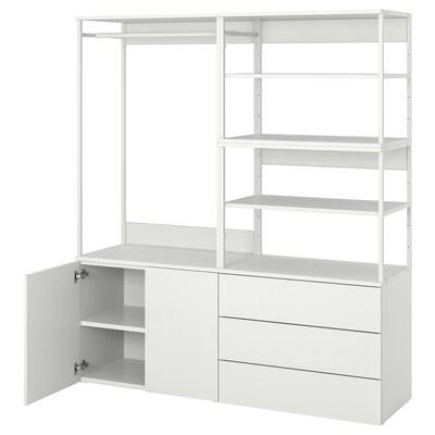 PLATSA Wardrobe with 2 doors+3 drawers, white/Fonnes white, 160x42x181 cm