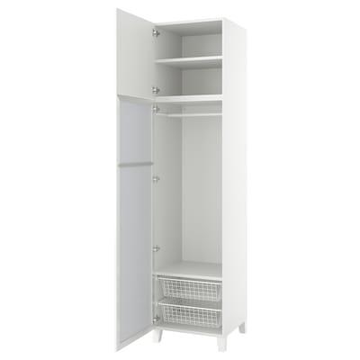 PLATSA Wardrobe with 2 doors, white STRAUMEN mirror glass /FONNES white, 60x57x251 cm