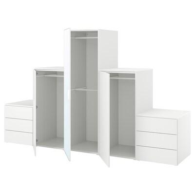 PLATSA Wardrobe with 3 doors+6 drawers, white STRAUMEN mirror glass /FONNES white, 300x57x181 cm