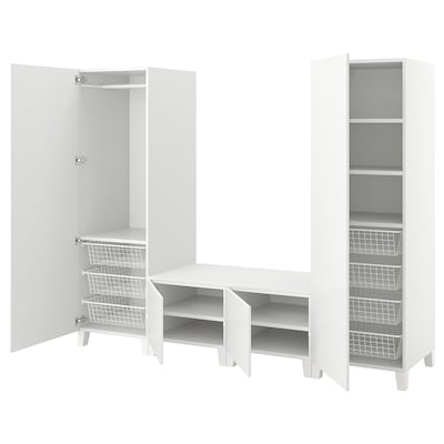 PLATSA Wardrobe with 4 doors, white/Fonnes white, 240x57x191 cm