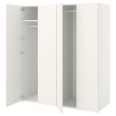 PLATSA Wardrobe with 4 doors, white/Fonnes white, 160x57x181 cm