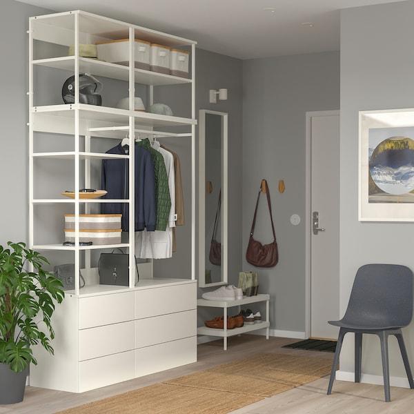 PLATSA Wardrobe with 6 drawers, white/Fonnes white, 140x42x241 cm