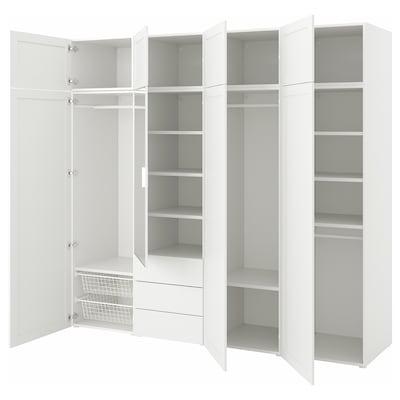 PLATSA Wardrobe with 8 doors+3 drawers, white STRAUMEN mirror glass /SANNIDAL white, 240x57x221 cm