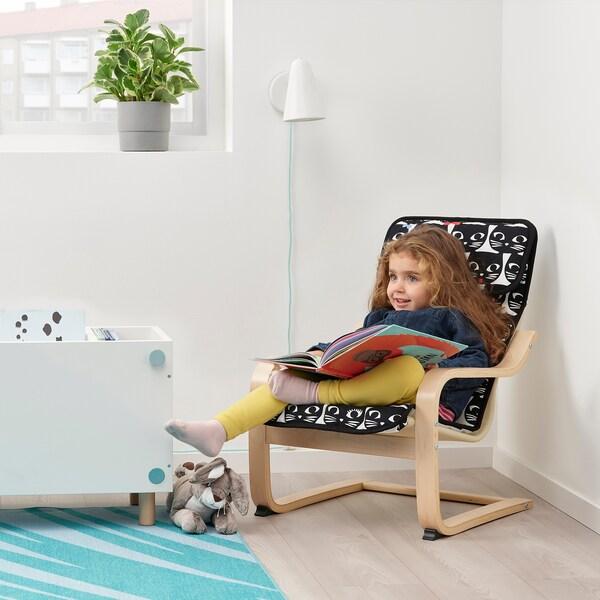 POÄNG Children's armchair, birch veneer/Gisslarp cat pattern