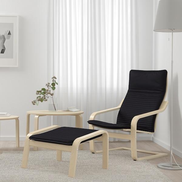 POÄNG Footstool, birch veneer/Knisa black