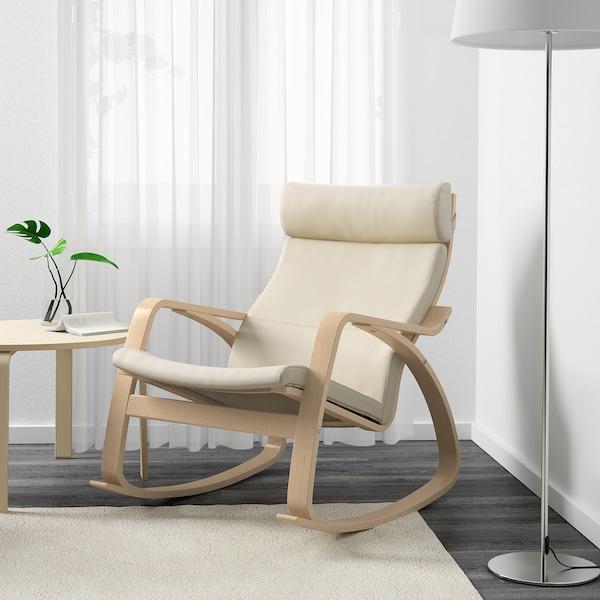 POÄNG Rocking-chair, birch veneer/Glose eggshell