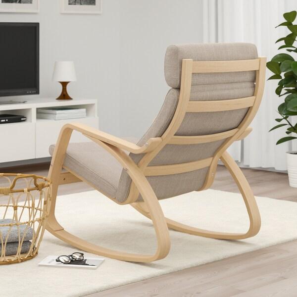 POÄNG Rocking-chair, white stained oak veneer/Hillared beige