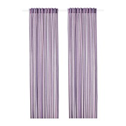 PRAKTKLOCKA curtains, 1 pair, lilac, striped