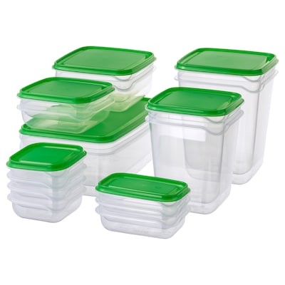 PRUTA food container, set of 17 transparent/green