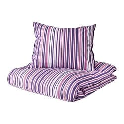 RANDGRÄS quilt cover and pillowcase, lilac, stripe