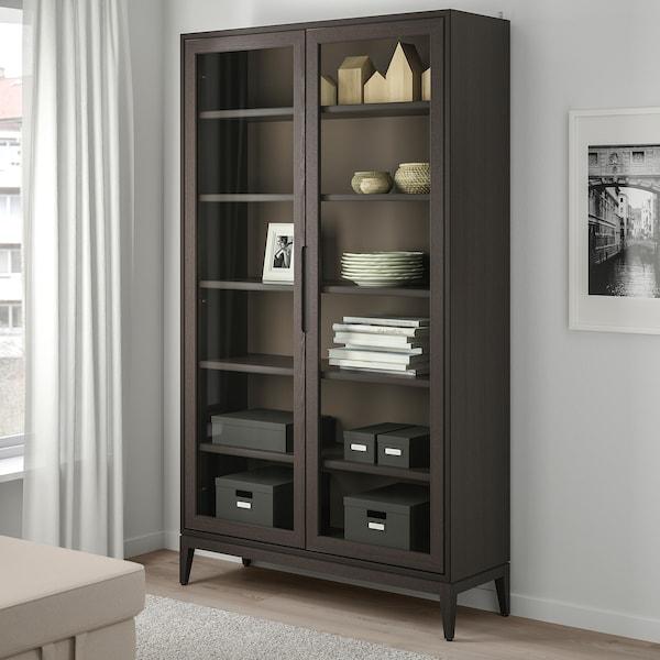 REGISSÖR Glass-door cabinet, brown, 118x203 cm