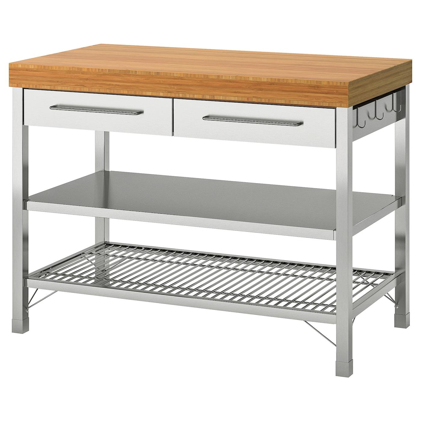 Mensole Legno Cucina Ikea rimforsa work bench - stainless steel, bamboo 120x63.5x92 cm