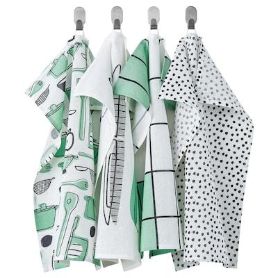 RINNIG Tea towel, white/green/patterned, 45x60 cm