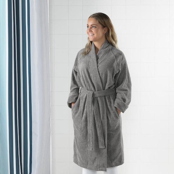 ROCKÅN Bath robe, grey, S/M