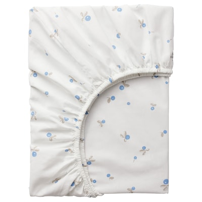 RÖDHAKE Fitted sheet for cot, white/blueberry patterned, 70x140 cm