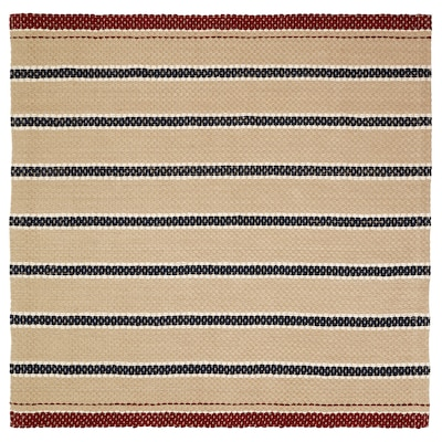RÖDHUS Rug, flatwoven, natural colour/multicolour, 190x190 cm