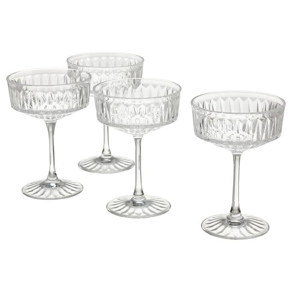 SÄLLSKAPLIG Champagne coupe, clear glass/patterned, 21 cl
