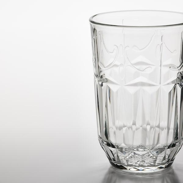 SÄLLSKAPLIG Glass, clear glass/patterned, 39 cl