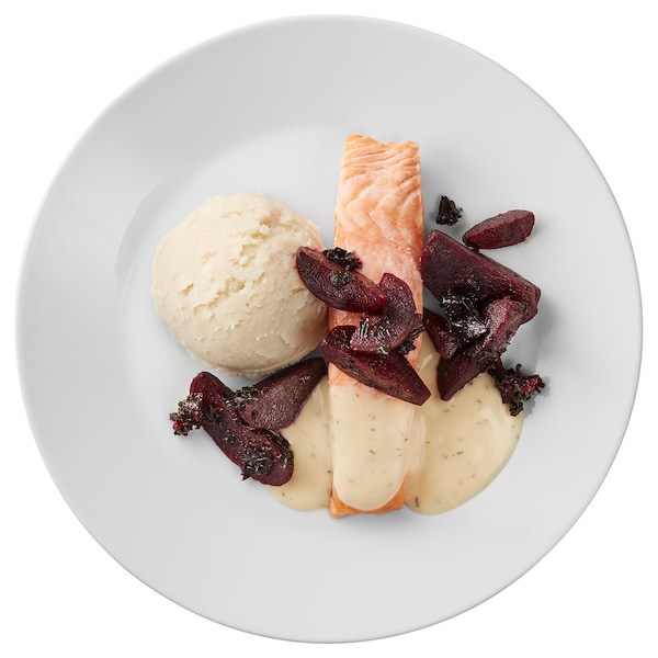 Salmon fillet, mashed potatoes and beetroot lemon-dill sauce