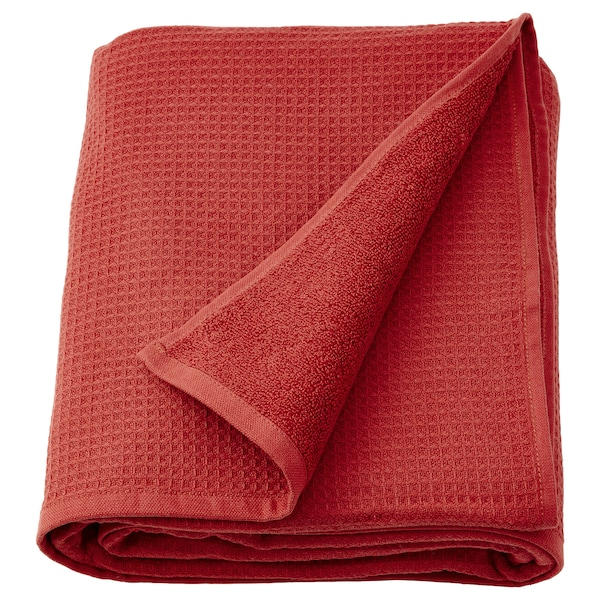 SALVIKEN Bath sheet, brown-red, 100x150 cm