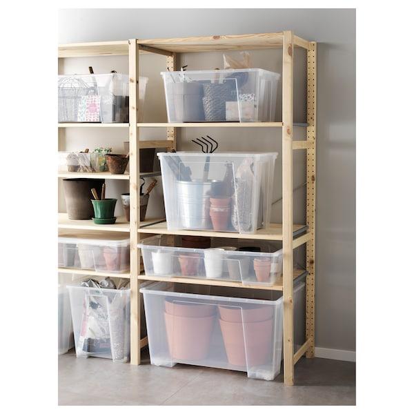 SAMLA Box with lid, transparent, 79x57x18 cm/55 l