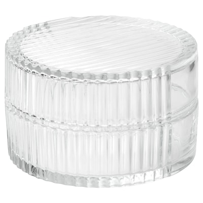 SAMMANHANG glass box with lid clear glass 8 cm 13 cm