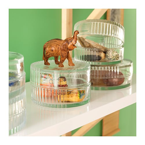 SAMMANHANG Glass box with lid   With this glass box you can choose if you want to display or hide the contents.